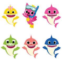 Cupcake Template, Star Template, Baby Girl Birthday Theme, Birthday Party Themes, Birthday Ideas, Shark Cupcakes, Shark Family, Shark Party, Baby Shark