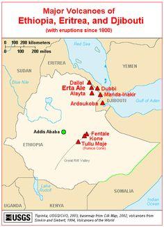 CVO Menu - Major Volcanoes of Ethiopia, Eritrea, and Djibouti - Map