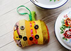 Smiling pumpkin patchwork textile Halloween by poppyshome on Etsy, $20.00