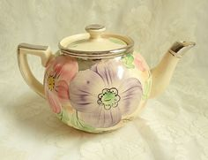 Vintage Hand Painted Pink Purple Flower Teapot 1930s 4 Cup Arthur Woods Pottery