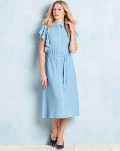 d6eec74d90d Capsule Ruffle Shirt Dress Blue Size UK 20 DH088 FF 09  fashion  clothing