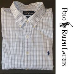POLO Ralph Lauren Long Sleeve Men's Shirt 2XL Big Tall Button Down PLAID Cotton #POLORalphLauren