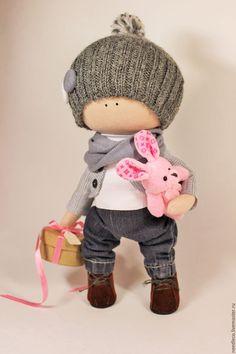 Купить кукла тыквоголовка - серый, кукла ручной работы, интерьерная игрушка, украшение для интерьера