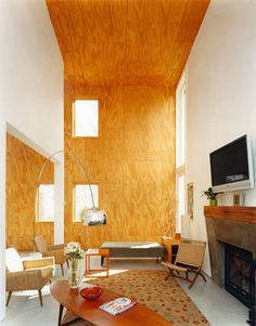 Sharon House Interiors - Lynn Gaffney Architect, PLLC #plywood #featurewall