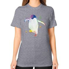 Psychedelic Penguin Unisex T-Shirt (on woman)