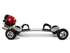 Custom designed, gas powered skateboard, all-terrain power boards. High performance motorized skateboards also known as mountain boards