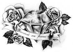 Resultado de imagem para roses and diamond tattoo Skull Tattoos, Rose Tattoos, Sexy Tattoos, Dream Tattoos, Body Art Tattoos, Tattoos For Guys, Sleeve Tattoos, Tattoos For Women, Tatoos
