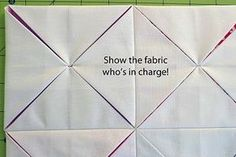For Perfect Cathedral Windows: Take just 2-3 stitches into each point. This anchors your points for a centered and even end product. Thank-you Angela Nash via Moda Bake Shop.