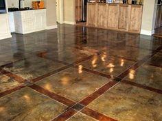 stained concrete floor Acid Wash Concrete, Acid Stain, Concrete Floors, Stained Concrete, Concrete Staining, Hardwood Floors, Stencil Patterns, Furniture Plans, Woodworking Furniture