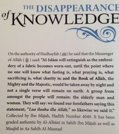 The disappearance of knowledge : Daily Hadith