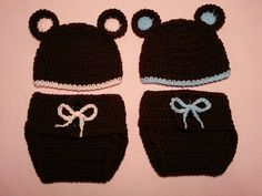 Baby Twin Bear Hat & Diaper Cover 2 Sets - Crochet Baby Newborn Costume Photo Prop Girl Boy Halloween Thanksgiving Winter Outfit 0-12 month
