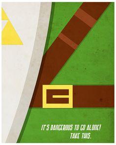 Legend of Zelda Poster Wall Art Video Game Room by TroyJensenArt