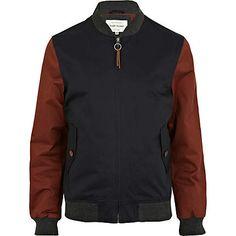 navy and red contrast jacket - jackets - coats / jackets - men - River Island