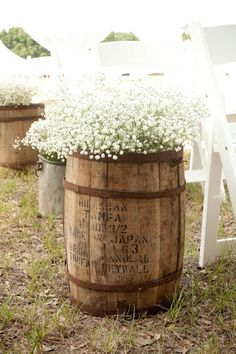 What a fantastic way to display Baby's Breath! Old rustic whiskey barrels are overflowing with Baby's Breath.