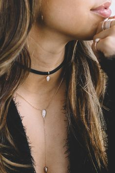 Leather Choker With 14K Rose Gold and Diamonds, CARBON & HYDE, $1610