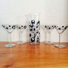 Vintage Mod Polka Dot Martini Set Cocktail Pitcher by hazelhome
