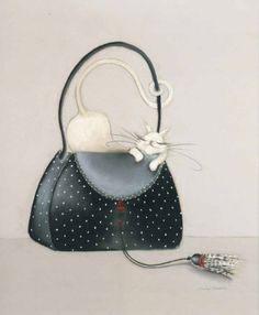 The Cat out of the Bag I ~ Fine-Art Print - Cats Art Prints and Posters - Cats and Kittens Pictures Image 3d, Image Chat, I Love Cats, Crazy Cats, Illustrations, Illustration Art, Matou, Here Kitty Kitty, Shoe Art