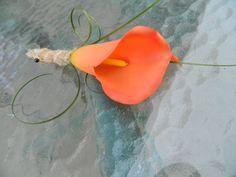 Coral Calla Lily Boutonniere