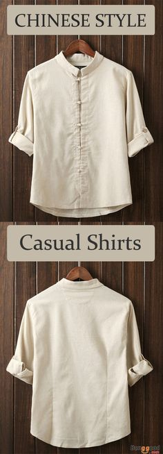 Mens Chinese Style Vintage Cotton Linen Frog Button Three Quarter Sleeve Casual Shirts