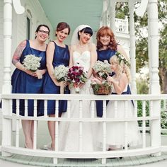 Navy Blue Bridesmaid Dresses // The Nichols Photography // http://www.theknot.com/weddings/album/a-rustic-celtic-wedding-in-austin-tx-137078