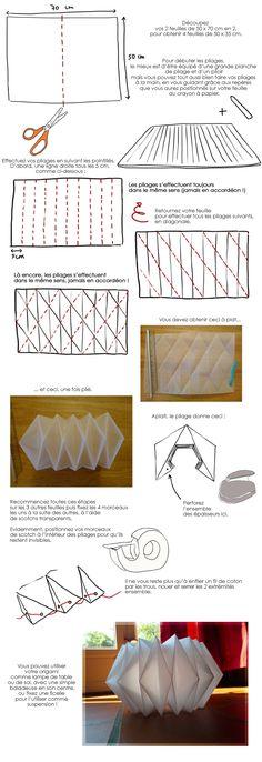 In Zeichnung: Mache eine Origami-Lampe – - DIY Papier & Origami Ideen Origami Design, Instruções Origami, Origami Lampshade, Origami Simple, Origami And Kirigami, Useful Origami, Origami Stars, Flower Lampshade, Paper Lampshade