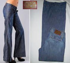 Level 99 Jeans Wide Leg Flare Denim Trouser 26 Medium Blue Vintage Wash *EUC* #Level99 #WideLegFlare