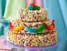 a rice crispie treat cake at every table?!!! or fruity pebble treats?!!