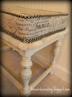 I was inspired by this french themed fabric!  I transfered french themed images from The Graphic Fairy to burlap, and used it as a seat cover for one of my redo chairs! :-)
