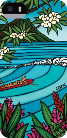 """""""Waikiki Surf Girl"""" by Heather Brown - Hawaii surf art hardshell recycled iPhone 5 / 5s case. 15% of proceeds benefit HUGS organization. http://www.truprotection.com/heather-brown-waikiki-surf-girl-iphone-5-5s/"""