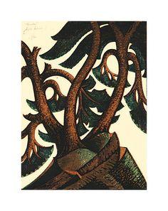 Tumulus, Sybil Andrews (1936) Land Art, Brooklyn Botanical Garden, Botanical Gardens, Element Terre, Sybil Andrews, Linocut Artists, Linoleum Block Printing, Green And Brown, Wood Print