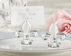 96 Fleur de Lis Silver Place Card Holders Wedding Favors - Affordable Elegance Bridal -