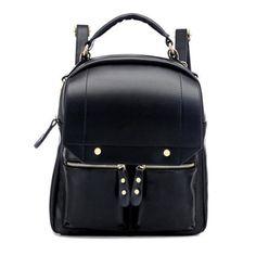 Sale 17% (23.55$) - Fashion Preppy Girls Backpack Students Pu Schoolbag Shoulder Bag