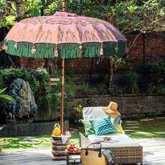 Sun Parasol, Parasol Base, Garden Parasols, Patio Umbrellas, Umbrella Shop, Balinese Garden, Outdoor Awnings, Shabby Chic Curtains, Green And Gold