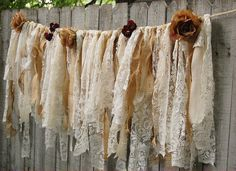 Lace Rag Garland Rustic Wedding Shabby Chic by TheVintageArtistry