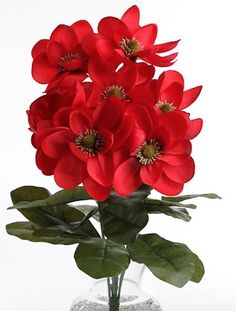 """21"""" Red, New Southern Magnolia Floral Bouquet."""