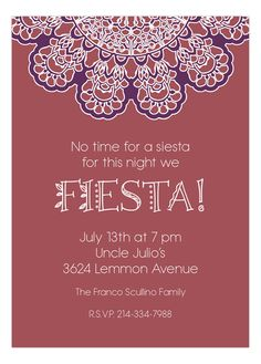 Marsala Fiesta Lace Party Invitation #Fiesta