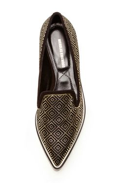 Black Gold Jacquard Microsole Loafer by Nicholas Kirkwood for Preorder on Moda Operandi