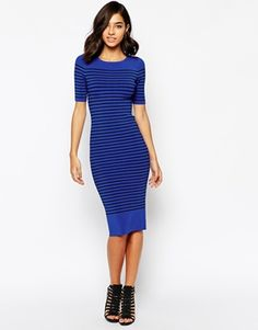 Karen Millen Knitted Dress in Tonal Blue Stripe