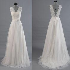 Best Sale Vantage V-Back Lace Top Simple Design Wedding Party Dresses, WD0036