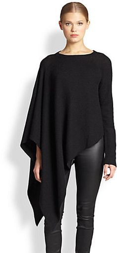 Helmut Lang Asymmetrical Alpaca Poncho Sweater Love this poncho-simple