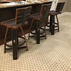 Jill Goldb added a photo of their purchase Bourbon Barrel Furniture, Reclaimed Wood Benches, Patio Chairs, Lounge Chairs, Whiskey Brands, Barrel Chair, Rocking Chair, Outdoor Furniture, Whiskey Barrels