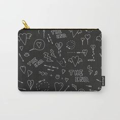 secret diary - doodle blackboard love print Carry-All Pouch by Marta Janicka - murkydesign - Small x Secret Diary, Organize Your Life, Blackboards, Carry On, Pattern Design, Zip Around Wallet, Doodles, Pouch, Art Supplies
