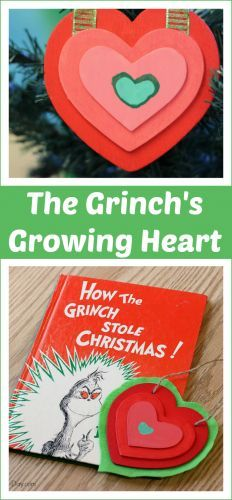 Grinch's Heart Homemade Christmas Ornament The Grinch's Growing Heart - a fun homemade Christmas ornament to make with the kids!The Grinch's Growing Heart - a fun homemade Christmas ornament to make with the kids! Grinch Party, Grinch Christmas Party, Christmas Party Themes, Christmas Program, Preschool Christmas, Noel Christmas, Christmas Books, Christmas Crafts For Kids, Homemade Christmas