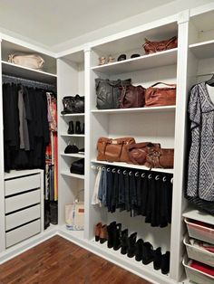 Ikea Pax was used to create this closet. Add some molding