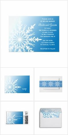 WINTER WEDDING Blue Snowflakes WEDDING SET COLLECTION Snowflake Snowing Winter Wedding Stationery Invites Announcements Invitations Envelopes Postage Stamps RSVP Thank You Cards & More!