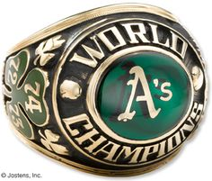 World Series – Oakland Athletics win 4 games to 1 over the Los Angeles Dodgers. World Series Rings, Mlb World Series, Nba Championship Rings, Cool Rings For Men, Super Bowl Rings, Batting Average, Pro Baseball, Softball Shirts, Basketball