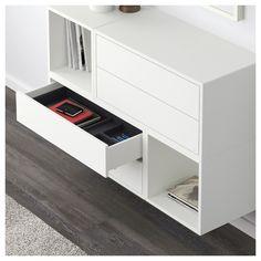 EKET Wall-mounted cabinet combination - white/light blue/dark blue - IKEA Need to be all white Ikea Eket, Ikea Wall, Interior Design Living Room, Interior Decorating, Home Goods Decor, Home Decor, Plafond Design, Ikea Home, Ikea Cabinets