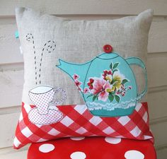 teapot & cup gorgeous free motion embroidery