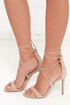 1eb48f322b2 LULUS Romy Taupe Lace-Up Heels at Lulus.com! Shoes Heels Boots