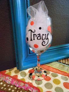 Jez4U Hand painted 4 Wine Glasses Custom Order for you by Jez4U, $120.00